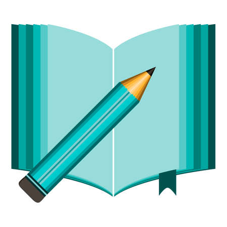 handbook: Open book with clean sheets and green pencil Illustration