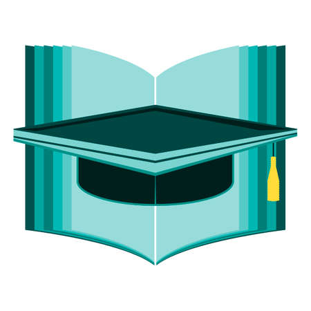 opened book: Opened book and graduation cap or hat. Education concept. Illustration