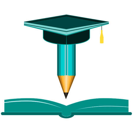 higher: Pencil and open book icons. Graduation cap symbol. Higher education learn signs.