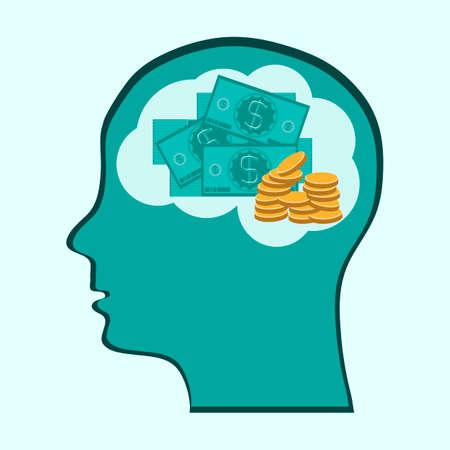 mente humana: Pensando Cerebro Mente dinero, concepto que muestra una cabeza, el cerebro piensa en el dinero
