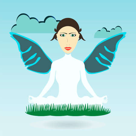 confident woman: Yoga woman with wings, confident woman
