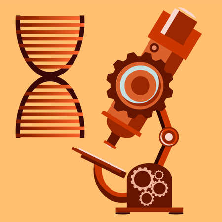 microscopy: microscope with detailed view on a dna