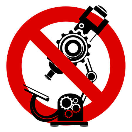 criminology: Stop or ban sign. Microscope icon. Medical scientific laboratory equipment. Prohibition red symbol.
