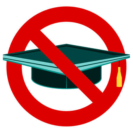 ban sign: Graduation cap icon. Prohibition red symbol. Stop or ban sign. Illustration