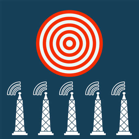 news cast: Tower with radio waves, transmitter icon. Target concept.