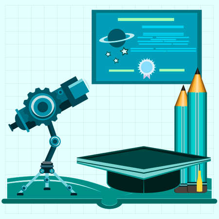 workspace: Workspace for Space Research, astronomy flat illustration Illustration