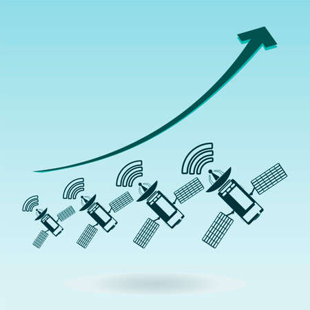 functionality: Communication satellite icon with solar cells. growth chart Illustration