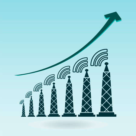 news cast: Tower with radio waves, transmitter icon. growth chart Illustration