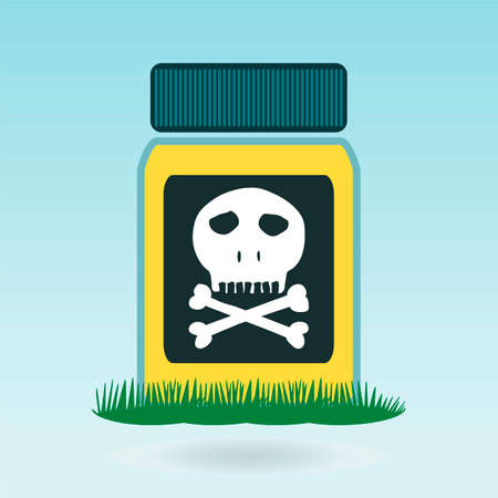 poison bottle: Botella de veneno, el concepto de hierba