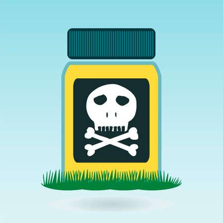 caution chemistry: Poison bottle, grass concept