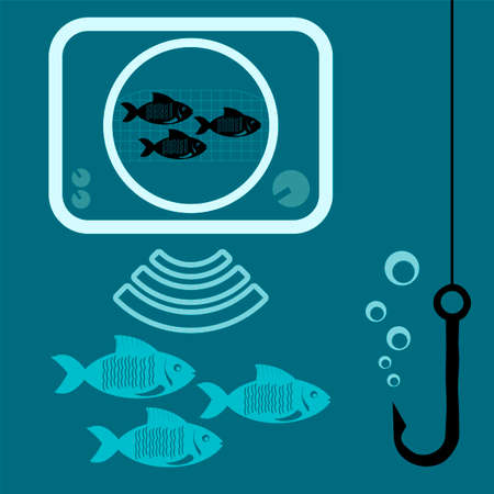 Fishing icon with echo sounder, fish and fishing hook