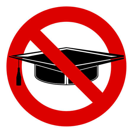 ban sign: Graduation cap black icon. Prohibition red symbol. Stop or ban sign.