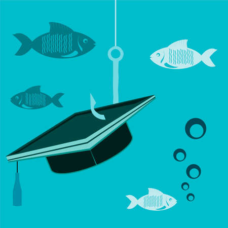 final college: Graduate hat on a fishing hook with fish under water