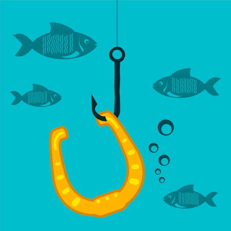 iron horse: Golden horseshoe on a fishing hook with fish under water