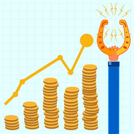 golden horseshoe: Golden horseshoe in hand, coins, growth chart on notebook sheet