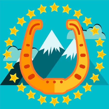 golden horseshoe: Golden horseshoe, emblem, icon, poster mountains in the background Illustration