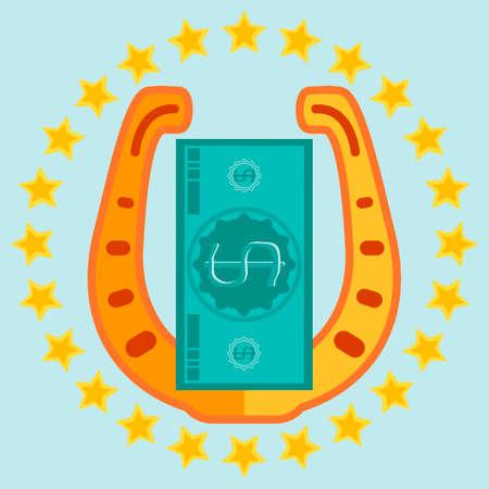 talismán: Herradura de Oro y un billete de un dólar en un círculo de estrellas, Talismán de la suerte Vectores