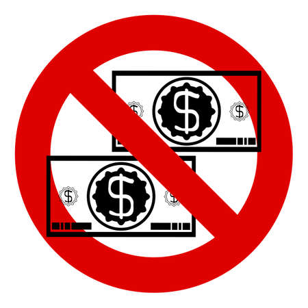 bestechung: No money. Prohibition of money. Stop dollar sign.