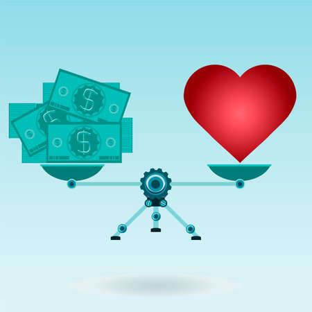love of money: Love, red heart or made money. Business and living, balance dollar and love Illustration