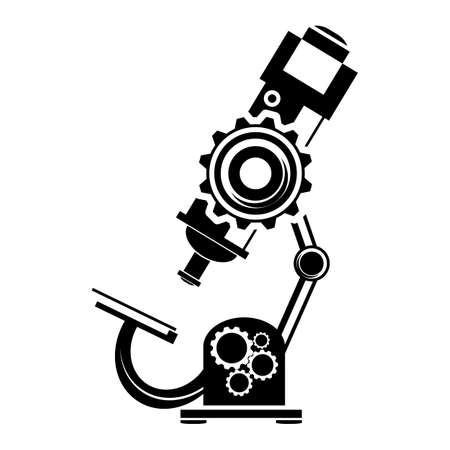 bacteria microscope: Black microscope icon on a white background Illustration