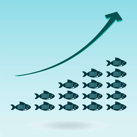 booming: Group of fishes and growth chart