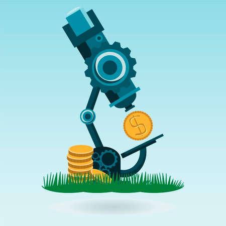 augmentation: Flat concept microscope with money dollar coin, grass concept