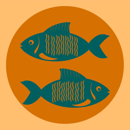 pisces: Zodiacs blue pisces, two fish