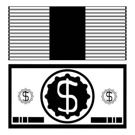 pack of dollars: Banknote dollar bundle silhouette, Simple icon pack dollars