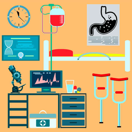 reanimation: Workplace doctor, scientist. Medical research, a hospital room. Illustration