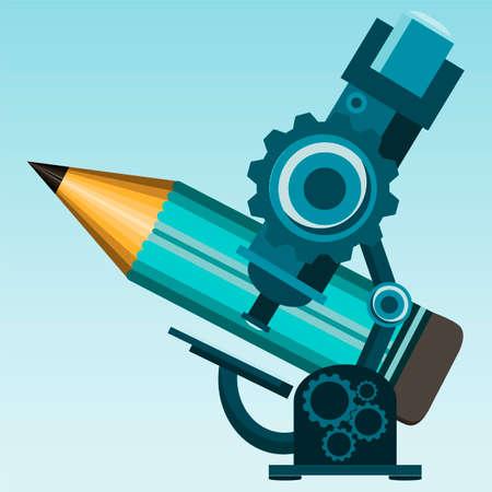 eyepiece: microscope and pencil, illustration Illustration