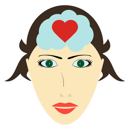 Female head and heart, head of a woman thinks about love Illustration