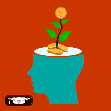 profitable: Young plant with golden coin in head, invest in profitable idea Illustration