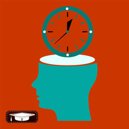 open mind: Open head think, man and his Open mind about clock. watch sign, Icon watch, symbol time