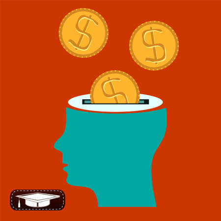 head support: Dollar coins in the mans head, investment knowledge, financial assistance, support, charity