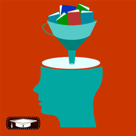 work experience: Funnel with books, open head, gaining knowledge, education