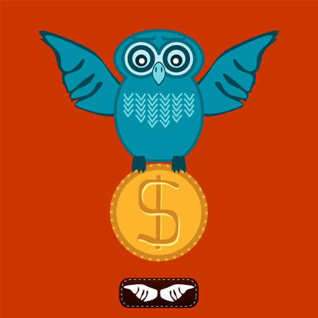 industrialist: Bird, owl with wings holding a dollar coin. Investments in education, Finance. Illustration