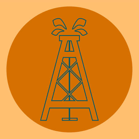 gusher: Oil rig, symbol, emblem of the oil industry, the production of hydrocarbons Illustration