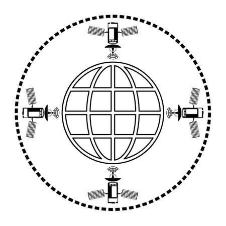orbiting: Four satellites orbiting the earth, the globe icon, black silhouette Illustration