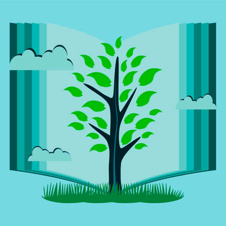reading: Young tree with green leaves in the background of an open book. The symbol of knowledge, reading, library.