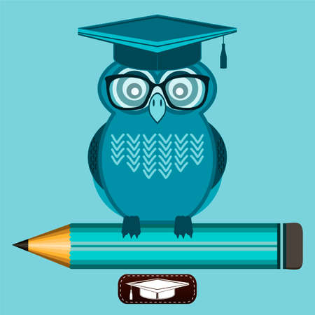 great job: Smart owl wearing glasses and a graduate cap, is sitting on the pencil. Knowledge, education, character high school