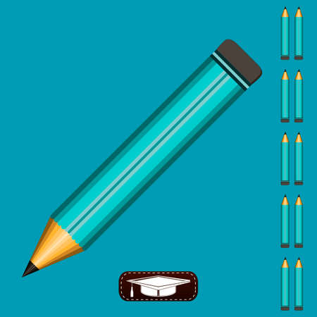 gaining: A pencil at a 45 degree angle on a blue background. Gaining knowledge, education writer, school drawing