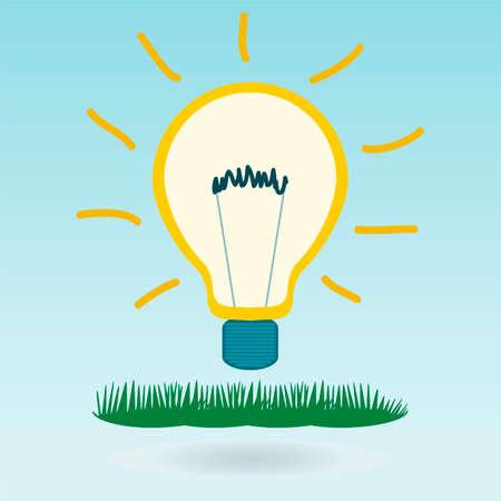 environmental education: filamento de la bombilla en la hierba, al aire libre. Nuevas ideas, la creatividad, el conocimiento, la educaci�n, la innovaci�n, la inversi�n en protecci�n del medio ambiente. Vectores
