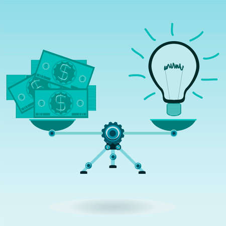 business savings: Money, dollars and electric bulb on the scales. Energy savings, electricity costs, electricity business. Payment for the idea, the creativity. Illustration