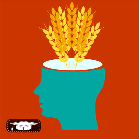 substitution: Ears of wheat in an open head. Concern about the harvest, agriculture, import substitution.