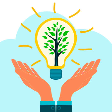 supporting: A young tree in a light bulb filament in the hands. The attraction of talent, creativity, investment in innovation, business angel, supporting new ideas, ecology, conservation