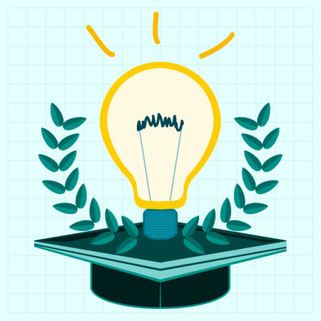 readiness: Light bulb on the cap of a graduate with a Laurel wreath. A high school student, education, readiness for new ideas