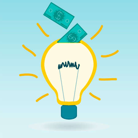 nueva generacion: Light bulb with dollar bills. Investments in power generation, electricity, Payment of new ideas. Vectores