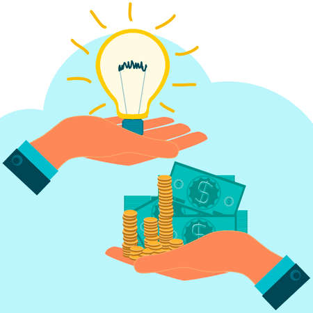 Light bulb with dollar bills in hand, exchange, buy. Investments in power generation, electricity, Payment of new ideas Illustration