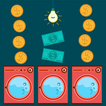 laundry room: Washing machines, shop appliances, Laundry room with electric light, payment for goods and services, gold dollar coins and banknotes