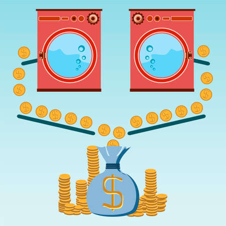 laundering: Profit from the Laundry room, washing machines, appliances store, payment for goods and services, gold dollar coins and a money bag, Washing money in a washing machine. The dollars laundering, financial crime Illustration